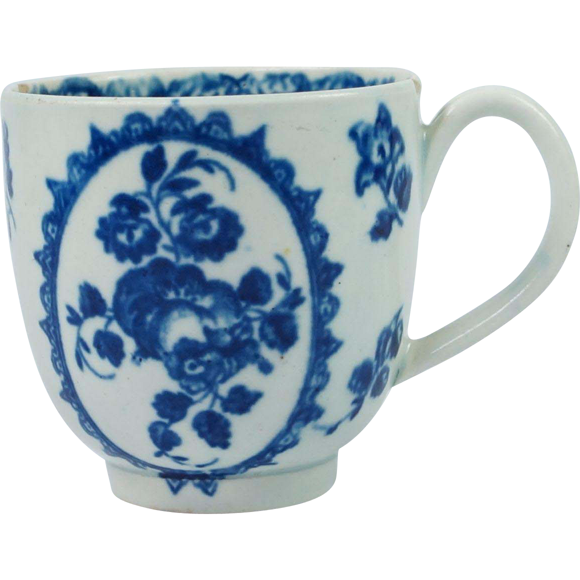Antique 18th Century Early Worcester Porcelain Cup Blue and White Fruit And Wreath Pattern English Circa 1775 First Period