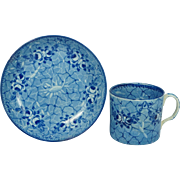 Antique Rare Early Ridgway Blue and White Transferware Coffee Can and Saucer Pearlware Circa 1820 Georgian