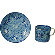 Early 19th Century Ridgway Blue and White Transferware Coffee Can and Saucer Pearlware Circa 1820 Georgian