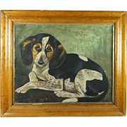 Antique 19th Century Dog Puppy Painting Signed Watercolor Portrait H S Wells 1897 Folk Art