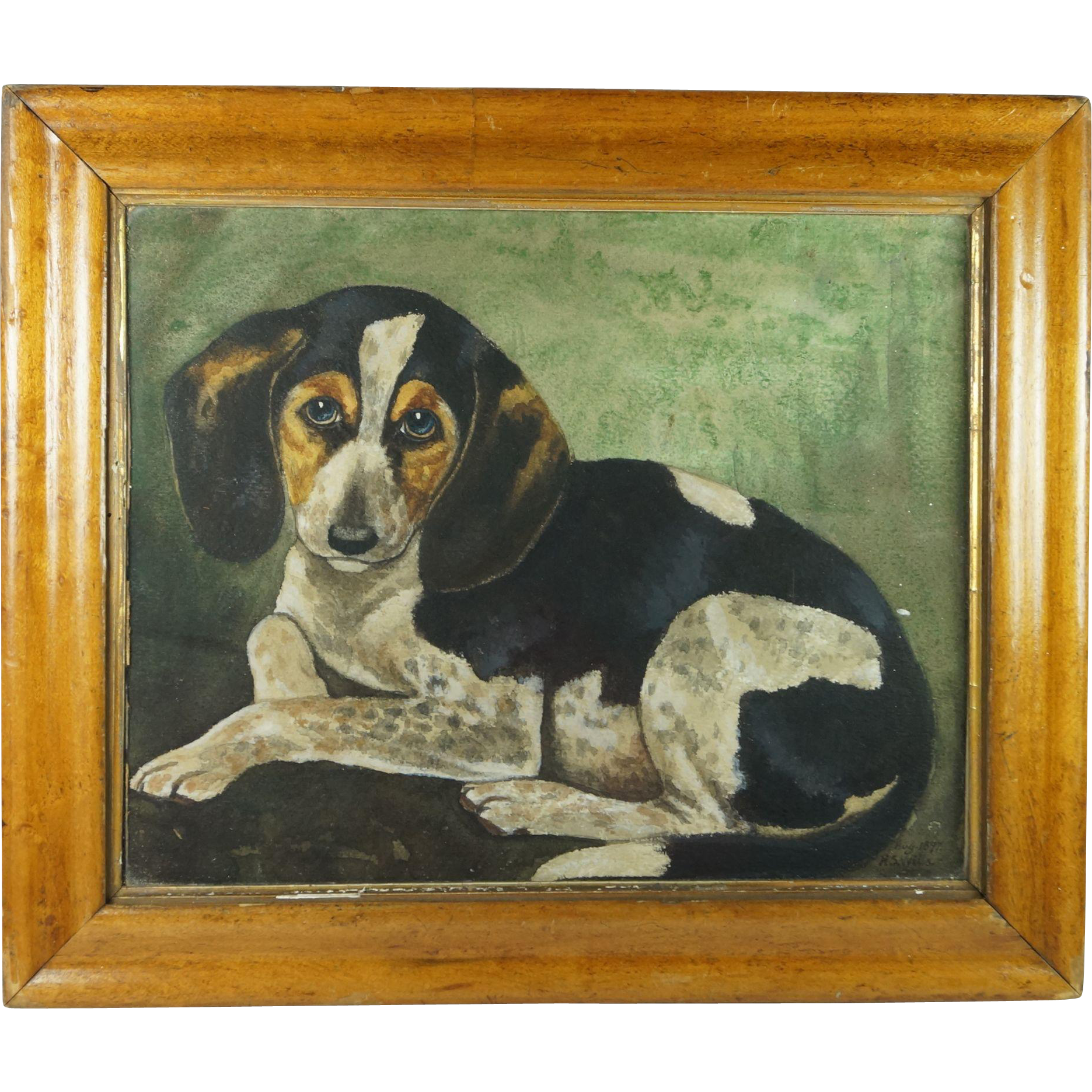 Antique 19th Century Dog Puppy Painting Signed Watercolor Portrait H S Wells 1897 English Folk Art