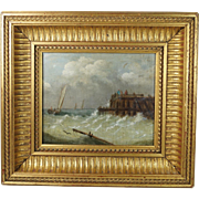 Antique 19th Century Oil Painting On Board Seascape Dutch School Circa 1870 STUNNING Frame