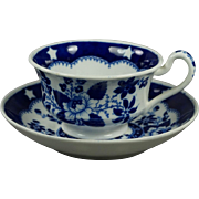 Georgian Blue and White Transferware Cup and Saucer Hilditch And Son Bird And Stars Pattern Circa 1822