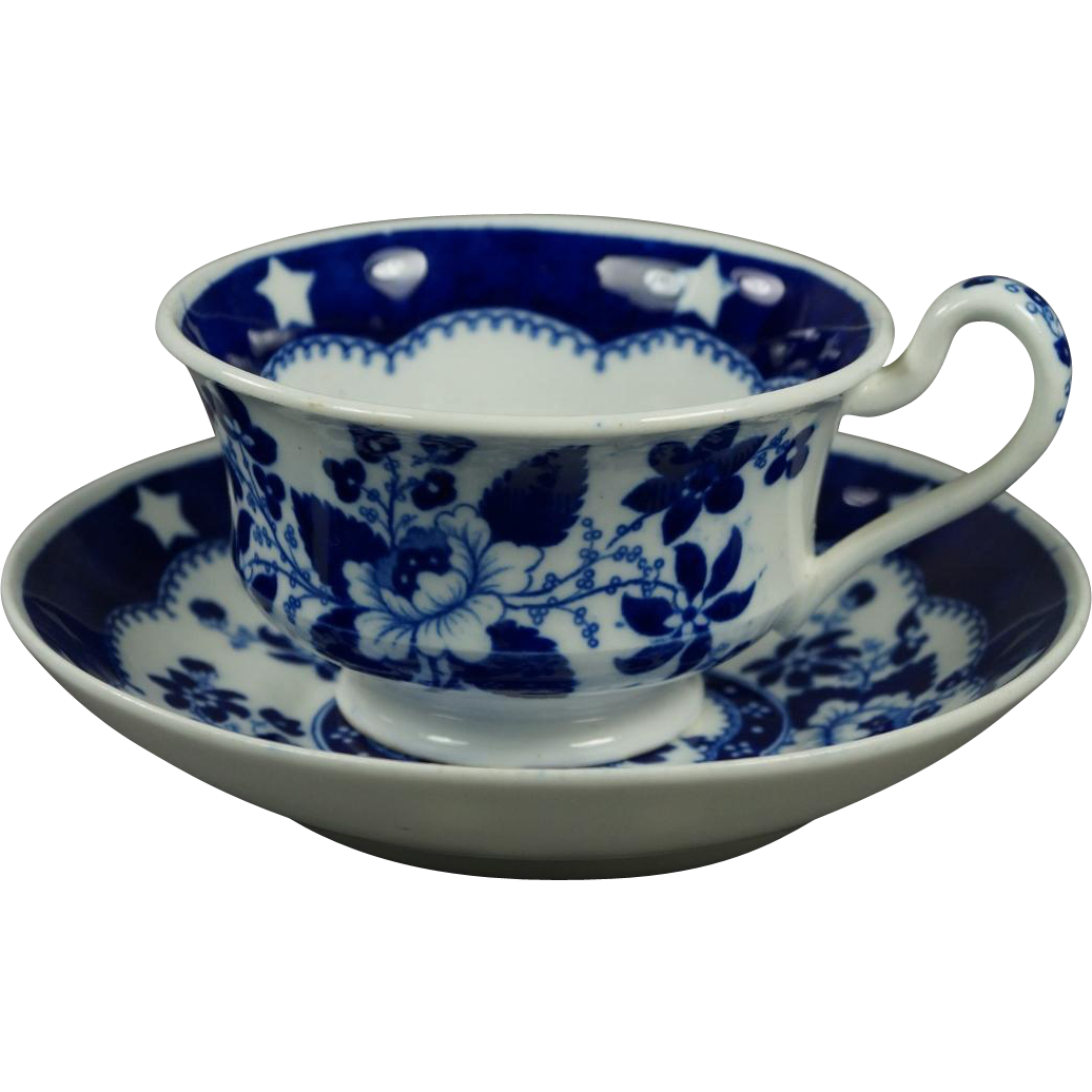 19th Century Georgian Blue and White Transferware Cup and Saucer Hilditch And Son Bird And Stars Pattern Circa 1822