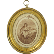 Antique 18th Century Miniature Stipple Engraving After Bartolozzi Lemon Gilt Frame Circa 1790s