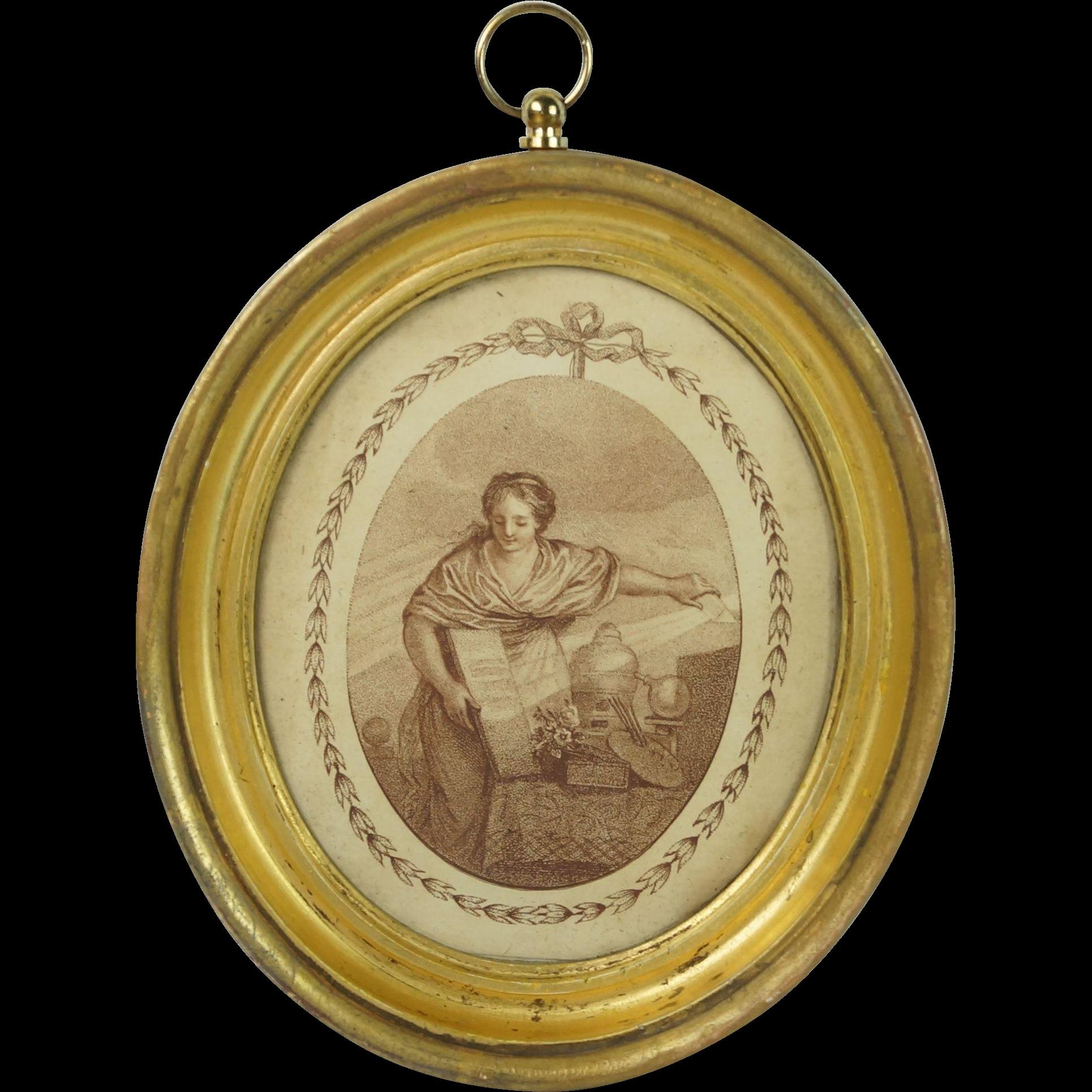 Antique 18th Century Miniature Stipple Engraving After Bartolozzi Lemon Gilt Frame Circa 1790s