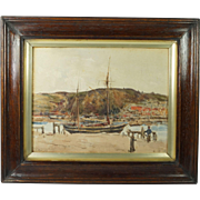 Antique English Watercolour Coastal Landscape Monogram And Dated L.B.B Nov 1913 Teignmouth