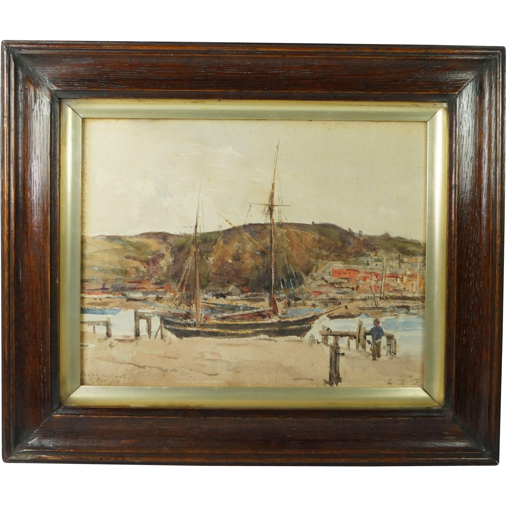 Antique English Watercolor Painting Coastal Landscape Monogram And Dated L.B.B Nov 1913 Teignmouth