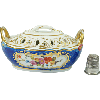 Antique Early Spode Porcelain Miniature Violet Pot Potpourri Vase and Cover Circa 1820
