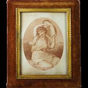 Georgian 1783 Bartolozzi Kauffmann Sanguine Stipple Engraving A Bacchante 19th Century Elliott & Fry Velvet Picture Frame