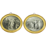 Victorian Miniature Oval Steel Engraving Pair Classical Scenes Delightful Circa 1870