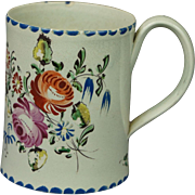 Antique English 18th Century Small Staffordshire Creamware Coffee Can Cup Mug Tankard Floral Georgian Circa 1790