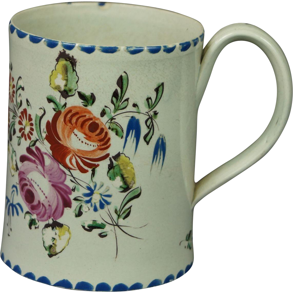 Antique Staffordshire Creamware Coffee Can Cup Mug Tankard Floral Georgian Circa 1790