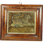 17th Century English Tent Stitch Slip Picture Leopard On Original Velvet Bed Hanging Fragment Human Hair Whiskers Circa 1660