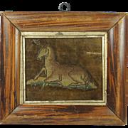 17th Century English Raised Work Slip On Original Velvet Bed Hanging Unicorn Circa 1660 Stuart Period
