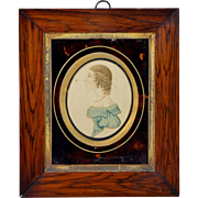Early 19th Century English Portrait Miniature Watercolor Faux Tortoiseshell Glass Mount Georgian Circa 1815