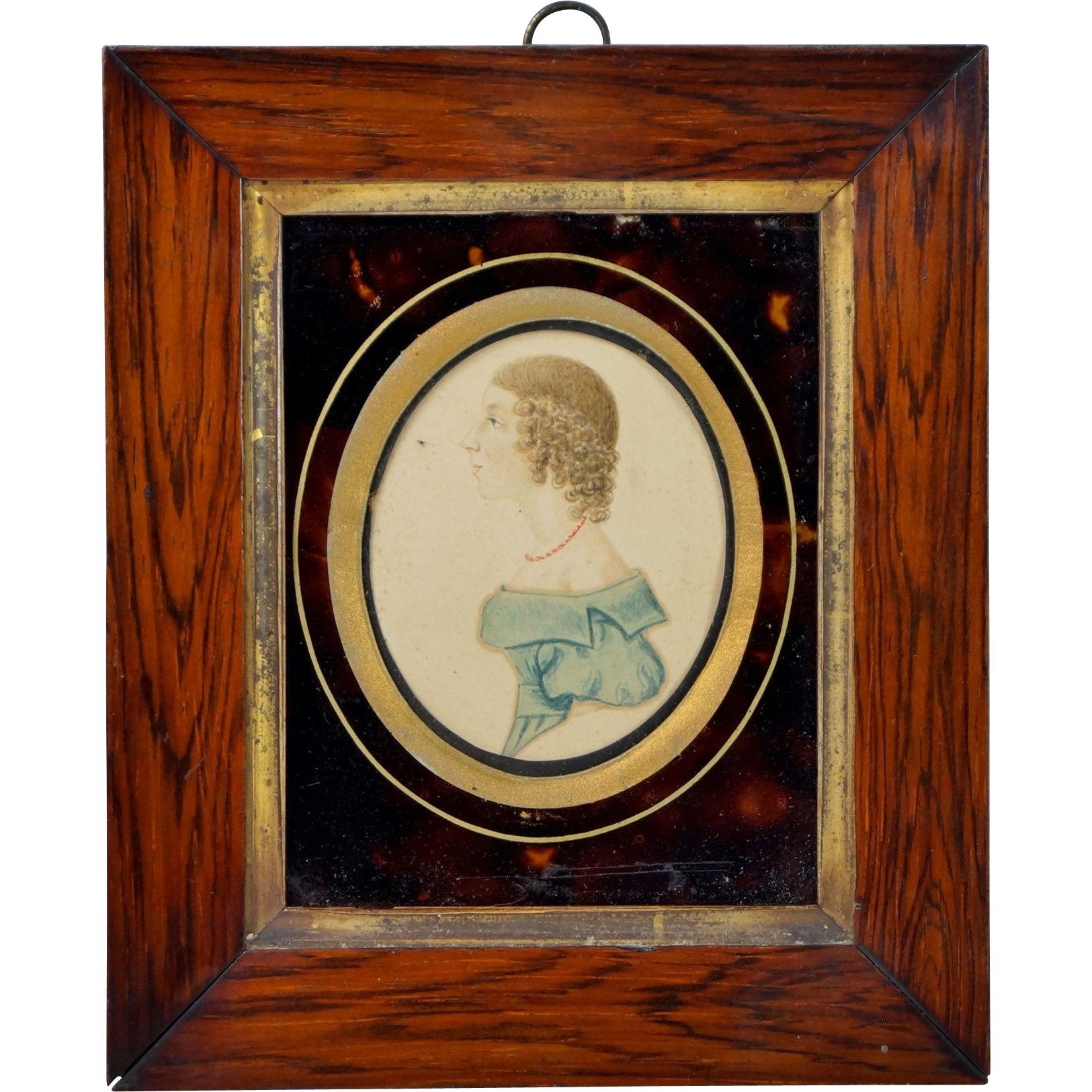 Antique Circa 1815 Portrait Miniature Watercolour Faux Effect Tortoiseshell Mount Regency Era