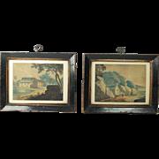 Naive Folk Art Watercolor Painting Pair English Rural And Coastal Scene Circa 1840