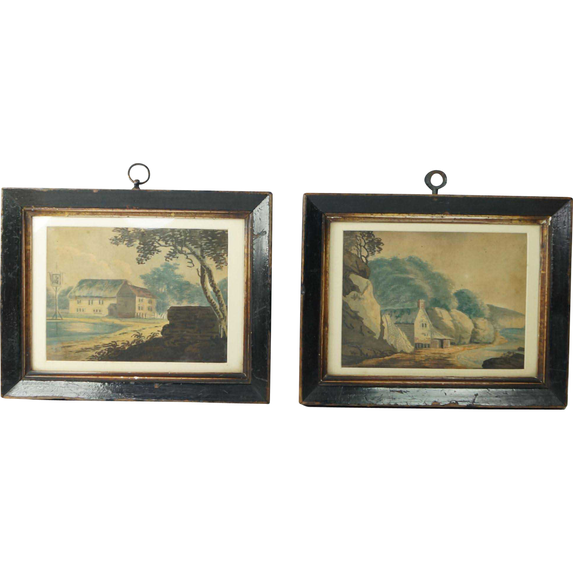 Naive Folk Art Watercolor Painting Pair English Rural And Coastal Scene Circa 1840