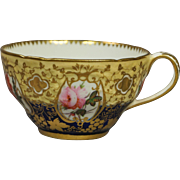 Antique Coalport Porcelain Cup Gorgeous Hand Painted Florals and Gilt Embossed Decoration Circa 1820 Georgian