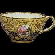 Antique Coalport Porcelain Cup Gorgeous Hand Painted Florals and Gilt Embossed Decoration Circa 1820 Georgian