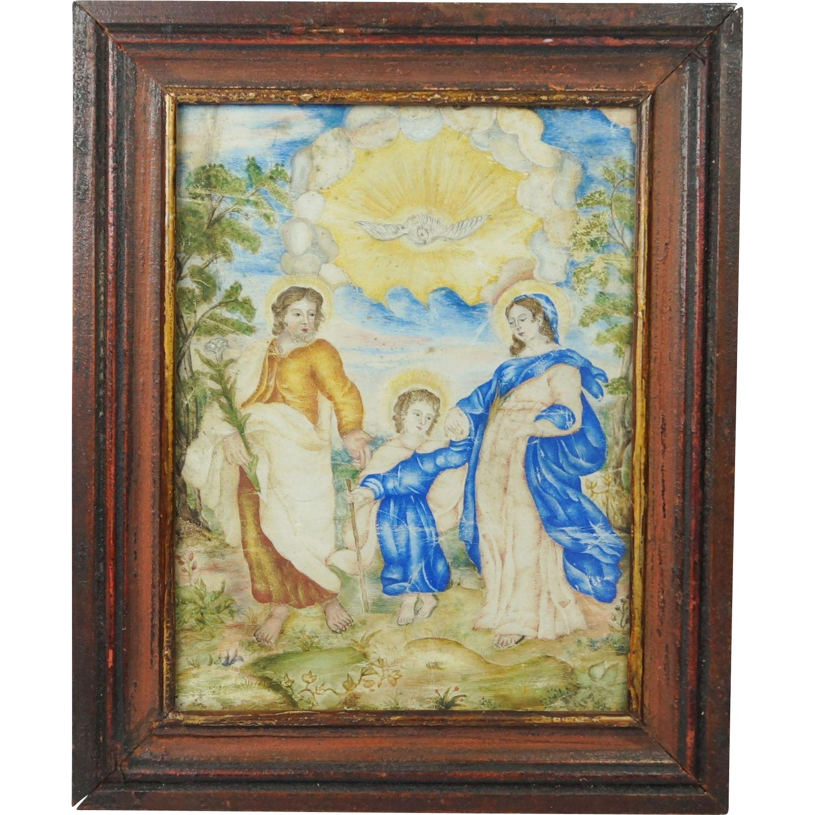 Early 18th Century Gouache Painting Holy Family Old Master Circa 1700