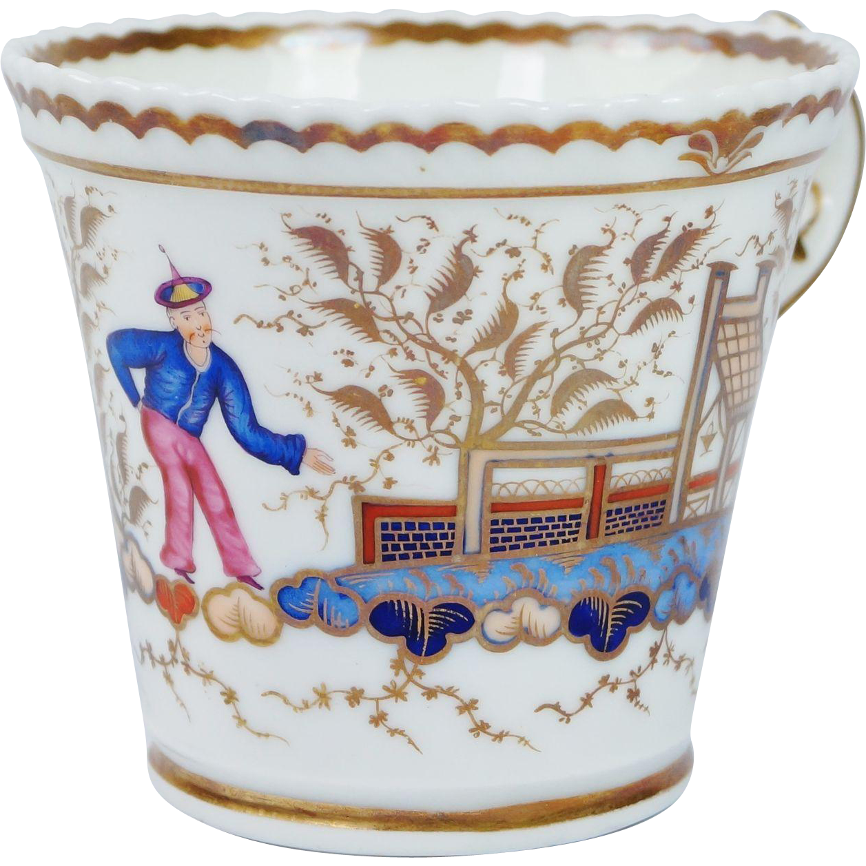 Early 19th Century Chamberlain Worcester Porcelain Cup Chinese Figure Pattern 767 English Regency Era C 1820