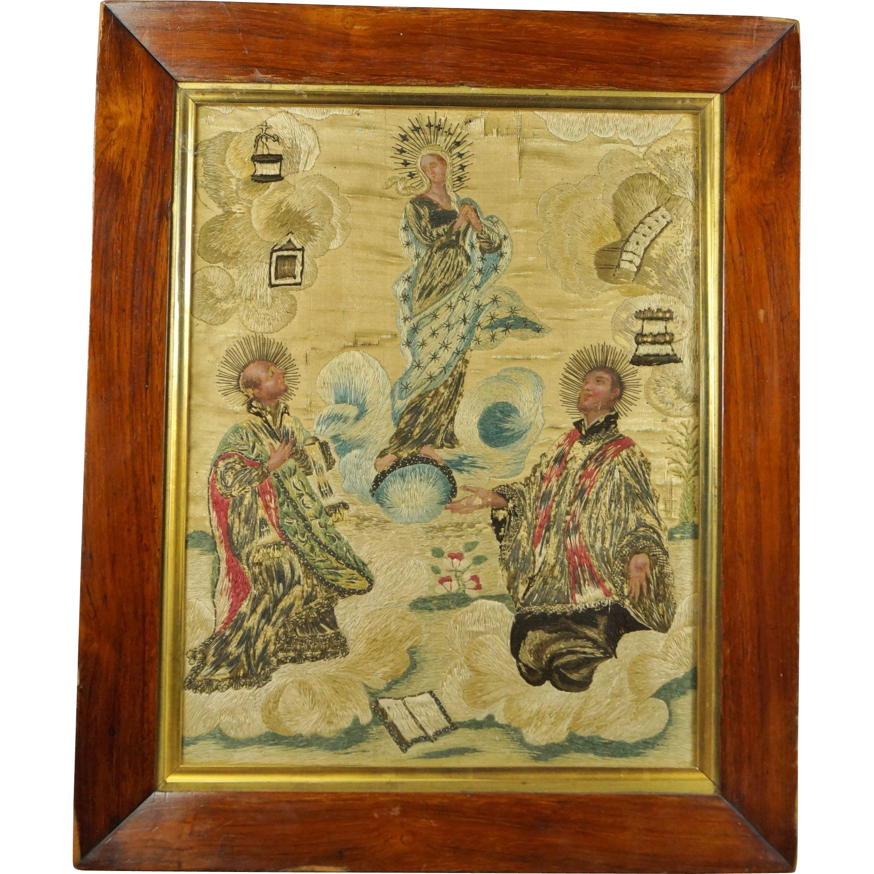18th Century Silkwork Needlework Embroidery St Ignatius Loyola The Assumption of The Virgin Circa 1740