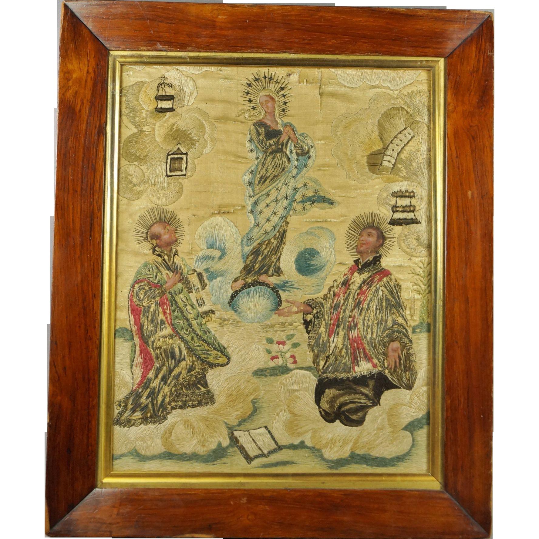 Antique 18th Century Silkwork Needlework Embroidery St Ignatius Loyola The Assumption of The Virgin Circa 1740