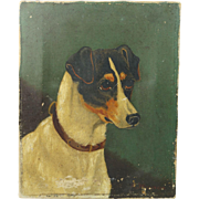 Jack Russell Terrier Oil On Canvas Signed A Wellinger 19th Century Dog Circa 1890