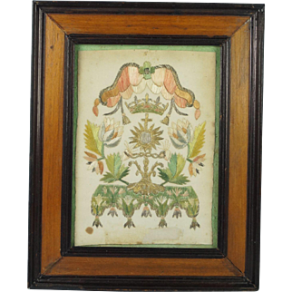 Antique 18th Century French Embroidery On Paper Circa 1715 Ursuline Convent Work Colifichet