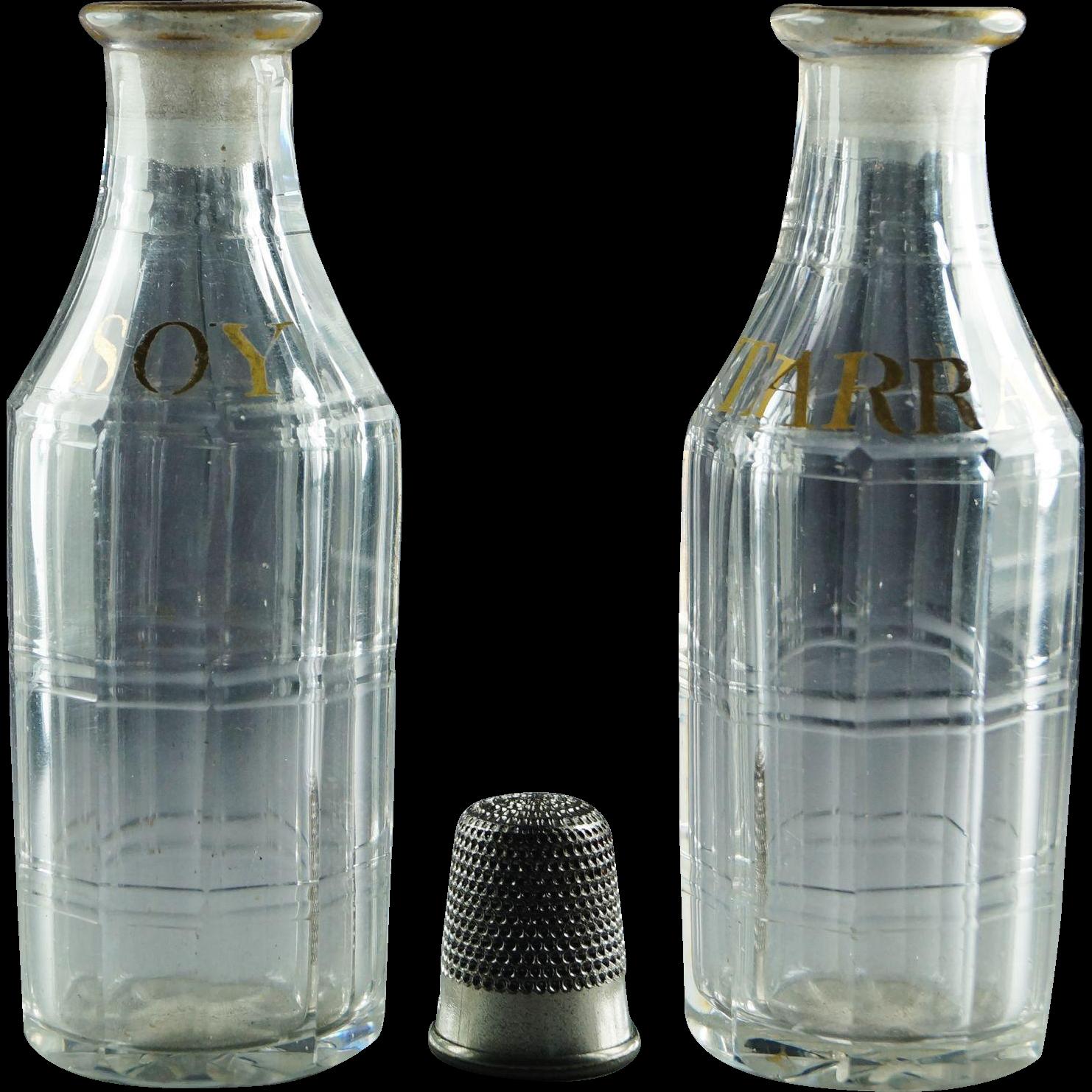 18th Century Miniature Glass Bottle Pair Condiment Sauce Soy and Tarragon Circa 1780 Rare