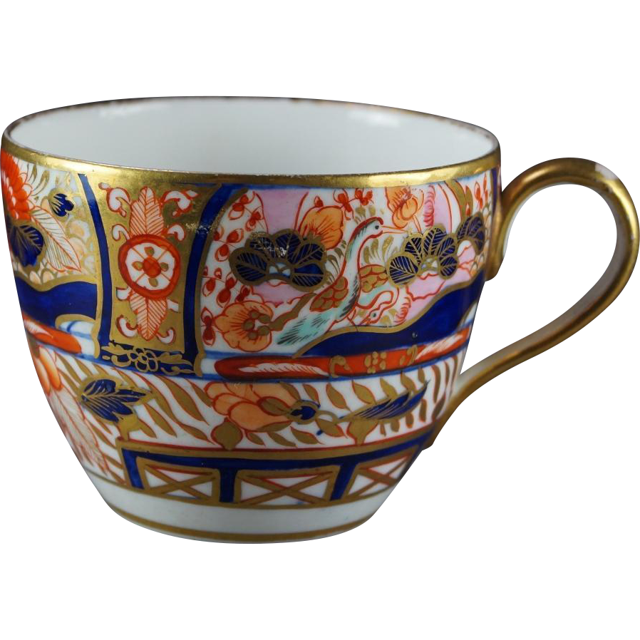 19th Century  Coalport Porcelain Cup Imari Decorated Bute Shape English Georgian Circa 1810