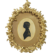 Antique Regency Period Bronzed Portrait Silhouette Young Child Rococo Frame English Circa 1820