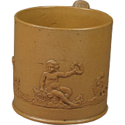 Antique English Circa 1800 Feldspathic Stoneware Coffee Can Putto Lion And Dog Sprigged Scene