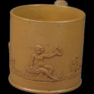 Antique English Circa 1800 Feldspathic Stoneware Coffee Can Putto Lion And Dog Sprigged Scene