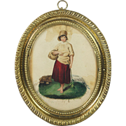 Georgian Miniature Watercolor Gouache Painting Original Pressed Brass Frame Circa 1800