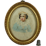 Antique Georgian Miniature Watercolor Portrait Lady Oval Gilt Frame English School 1820