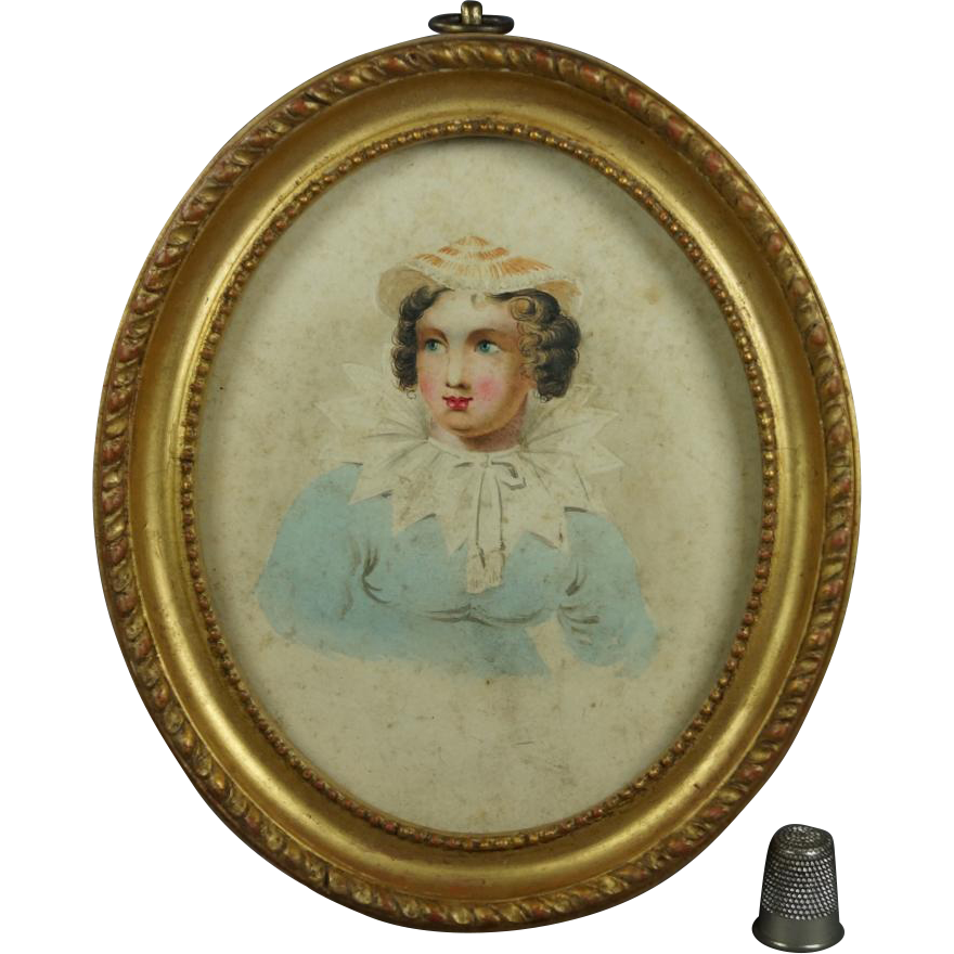 Antique Early 19th Century Georgian Miniature Watercolor Portrait Lady Oval Gilt Frame English School Circa 1820