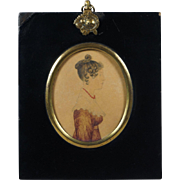 Early 19th Century English Portrait Miniature Watercolor On Card Regency Lady Lydia Nunn Dated 1822