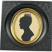 Early 19th Century Painted Silhouette Georgian Circa 1810 Later Gutta Percha Frame