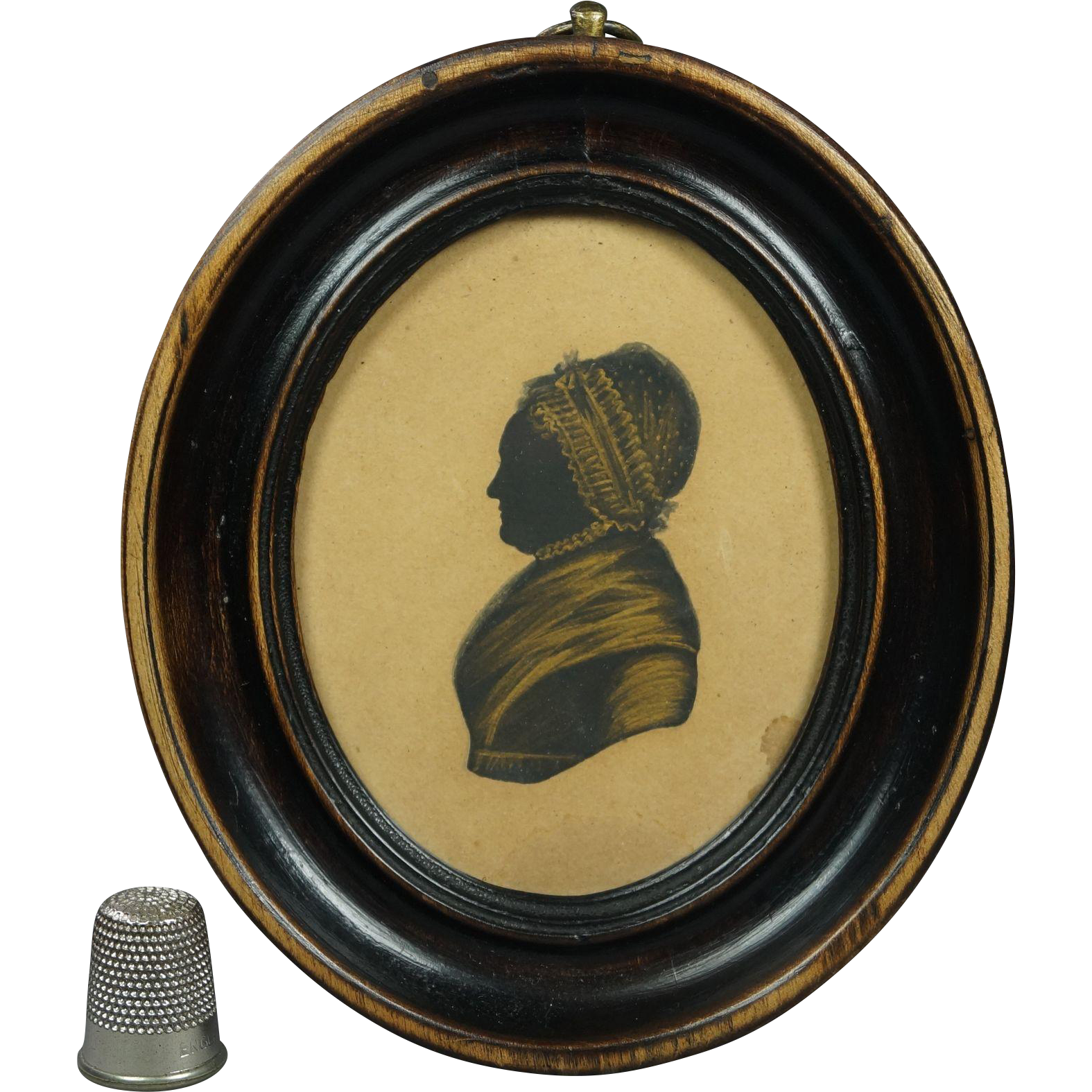 Antique Georgian Painted Silhouette Lovely Folk Art Oval Fruitwood Frame English Circa 1810