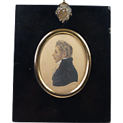 Early 19th Century Albin Roberts Burt Miniature Watercolor Portrait Signed Dated 1814 Regency