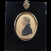 Early 19th Century Albin Roberts Burt Miniature Watercolor Portrait Signed Dated 1814 Regency