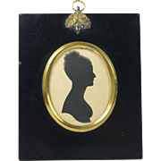 Georgian Painted Silhouette Portrait of a Lady in William Hill Papier Mache Frame Circa 1815