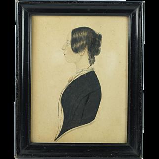Antique Naive Folk Watercolor Portrait Of A Lady English School Circa 1840