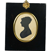 English 19th Century Miniature Silhouette Portrait Woman Early Georgian 1815