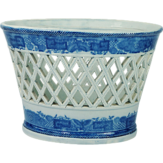 Antique Early Staffordshire Blue and White Transferware Reticulated Fruit Basket Pearlware Circa 1800