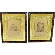 Georgian Engraving Pair In Stunning 19th Century Gold Leaf Mirrored Faux Tortoiseshell Frames