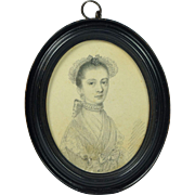 Fine Antique 18th Century Miniature Portrait Drawing Plumbago Original Oval Frame Circa 1765 English School